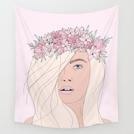 Pink Fairy Portrait Wall Tapestry