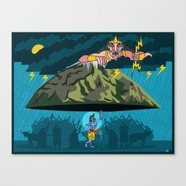 Krishna and Indra Canvas Print