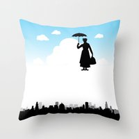 mary poppins Throw Pillows featuring mary poppins by notbook