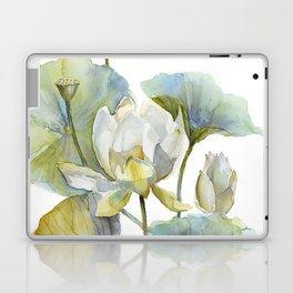 Lotus Plant and Fish Zen Design Watercolor Muted Pallet Botanical Art Laptop & iPad Skin
