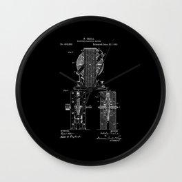 Nikola Tesla Electro Magnetic Motor Patent Art - White on Black Wall Clock
