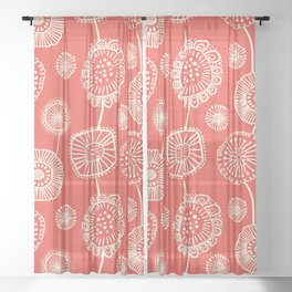 Doodle Floral in Red Sheer Curtain