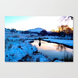 Snowy puddles Canvas Print