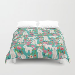 Cockapoo floral dog breed dog pattern pet friendly cocker spaniel poodle Duvet Cover