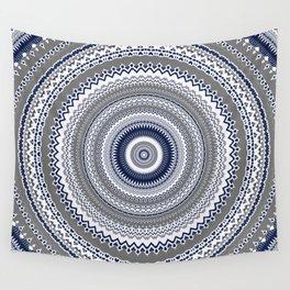 Navy Blue Grey Bohemian Mandala Wall Tapestry