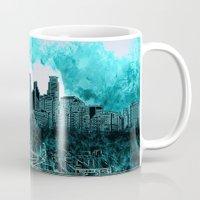 minneapolis Mugs featuring minneapolis city skyline by Bekim ART