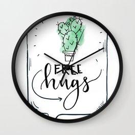 Cactus Free Hugs Wall Clock