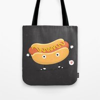 hot dog Tote Bags featuring Hot Dog by Céline Dscps
