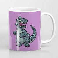godzilla Mugs featuring Godzilla by lisanaffziger