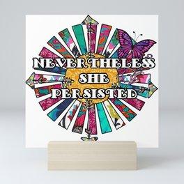 Nevertheless She Persisted Retro Fabric Collage Mini Art Print