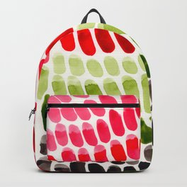Red & Green Minimalist Watercolor Stripes Natural Patterns Nature Geometric Nature Backpack