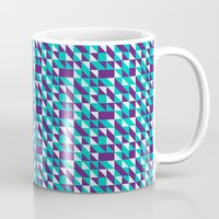 spires Mugs featuring PURPLE TURQUOISE SPIRES  by Oksana Smith