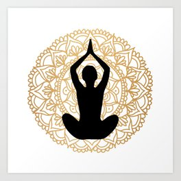 Lotus Yoga Pose Mandala Black White Gold Art Print