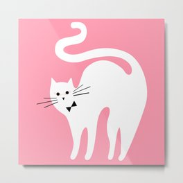 Cute White Cat with Bow Metal Print