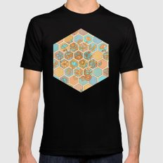Golden Honeycomb Tangle - hexagon doodle in peach, blue, mint & cream Black MEDIUM Mens Fitted Tee