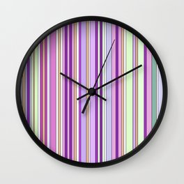 Pink Summer Stripes Wall Clock