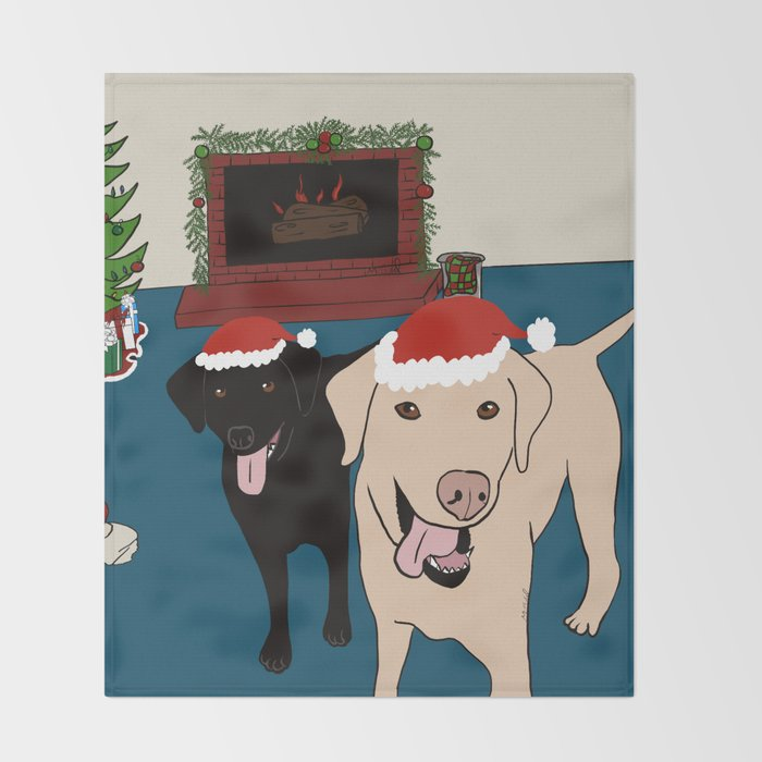 Labs Love Christmas! Throw Blanket
