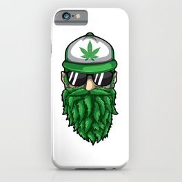 Beard from Cannabis Leaves - Weed Hipster Smoker iPhone Case