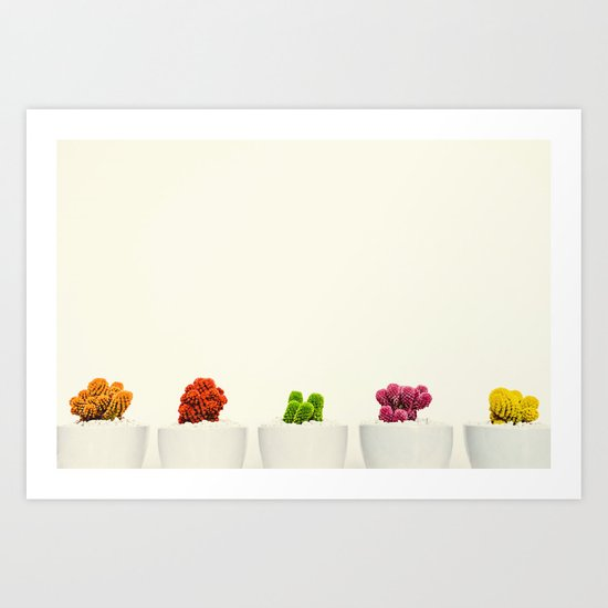 Creamy Cactus Colors Cuteness Cups Art Print