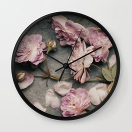 Dusty Pink Roses Wall Clock
