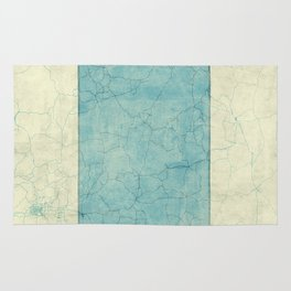Wyoming State Map Blue Vintage Rug