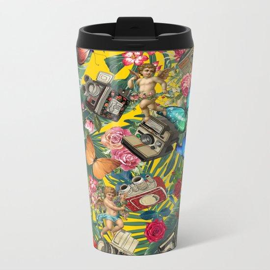 tropical in yellow Metal Travel Mug