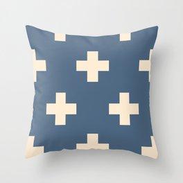 Swiss Cross Blue Throw Pillow