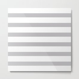 Silver Gray Stripes on White Background Metal Print