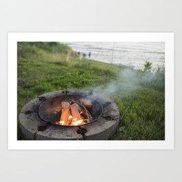 Lake Michigan campfire Art Print
