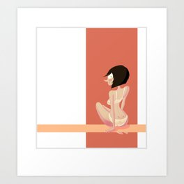 Cute red shapes pin-up / Mignonne pin-up aux formes rouges Art Print