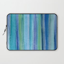 Blue and Green Watercolor Stripes - Underwater Reeds / Abstract Laptop Sleeve