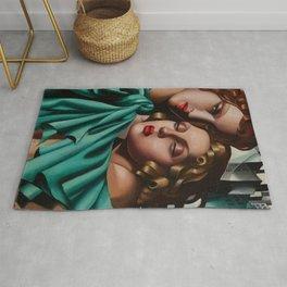 Classical Masterpiece 'Cold Beauty - Two Girls - Les Jeunes Filles' by Tamara de Lempicka Rug