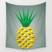pineapple Wall Tapestries featuring Pineapple by mailboxdisco