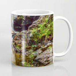 Ducklings swimming at the waterfall Coffee Mug