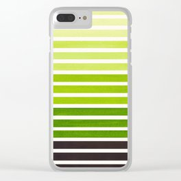 Sap Green Minimalist Abstract 15 Stripes Watercolor Gradient Clear iPhone Case