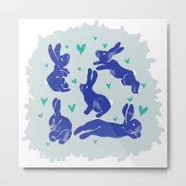 Bunny love - Blueberry edition Metal Print