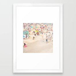 Beach Crowd Framed Art Print