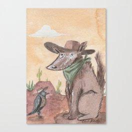 Old Fluffy Dog & His Crow Friend Enjoy The Desert Sunset Canvas Print