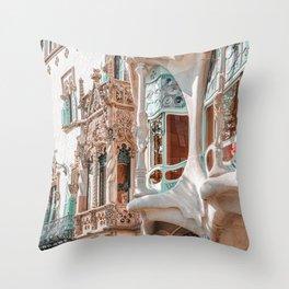 Casa Batllo, Antoni Gaudi Architecture, Barcelona City Print, Famous Landmark, Travel Print, House Facade, Modernist Building, Spanish Organic Motifs Throw Pillow