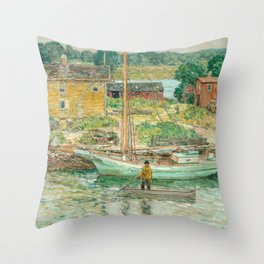 Oyster Sloop, Cos Cob 1902 by Childe Hassam Throw Pillow