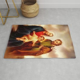Mother Of God Mary With Baby Jesus Rug