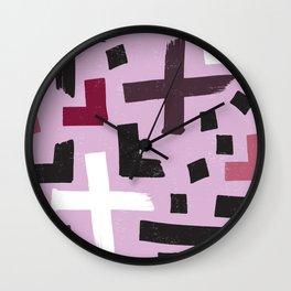 Pink Abstract Brushstroke Pattern Wall Clock