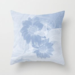 Delicate white butterflies and denim blue flowers in abstract fractal Throw Pillow