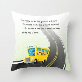Wheels on the Bus Throw Pillow