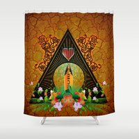 surfboard Shower Curtains featuring Surfboard with flowers  by nicky2342