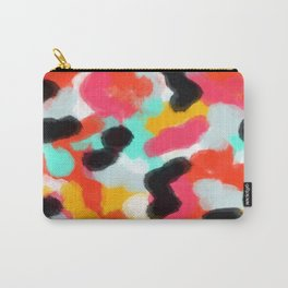 Aster - abstract brush strokes in pink, black, white, blue. Carry-All Pouch