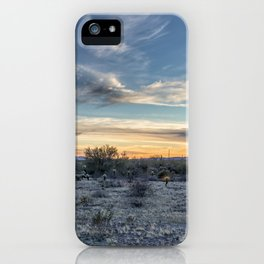 Sunset with Hot Air Balloons in the Distance Outside Phoenix iPhone Case