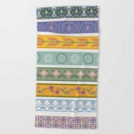 Vintage Ornament Pattern Beach Towel
