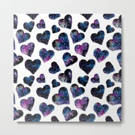 Space Hearts Metal Print