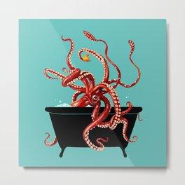 Giant Squid in Bathtub Metal Print